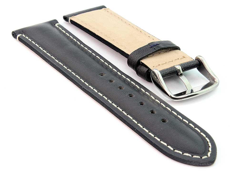 Genuine Leather Watch Strap Band Tourist Black (semi-matte) 02