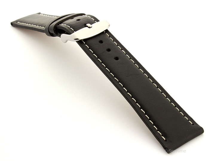 Extra Long Genuine Leather Watch Strap Twister Black 02