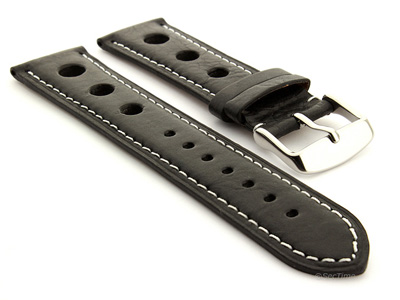 Rally Style Watch Strap Black with White Stitching Twister 01 01