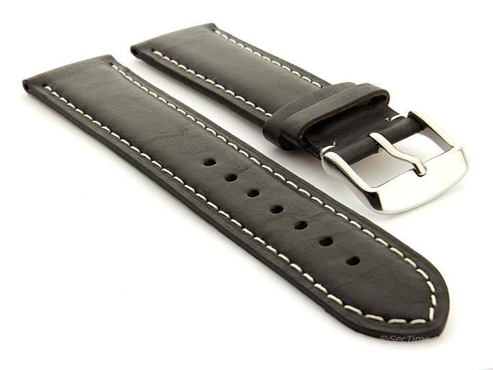 Flat Leather Watch Strap Black with White Stitching Twister 01 01