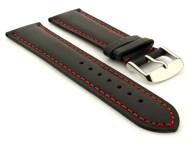 Flat Leather Watch Strap Black with Red Stitching Twister 01 01