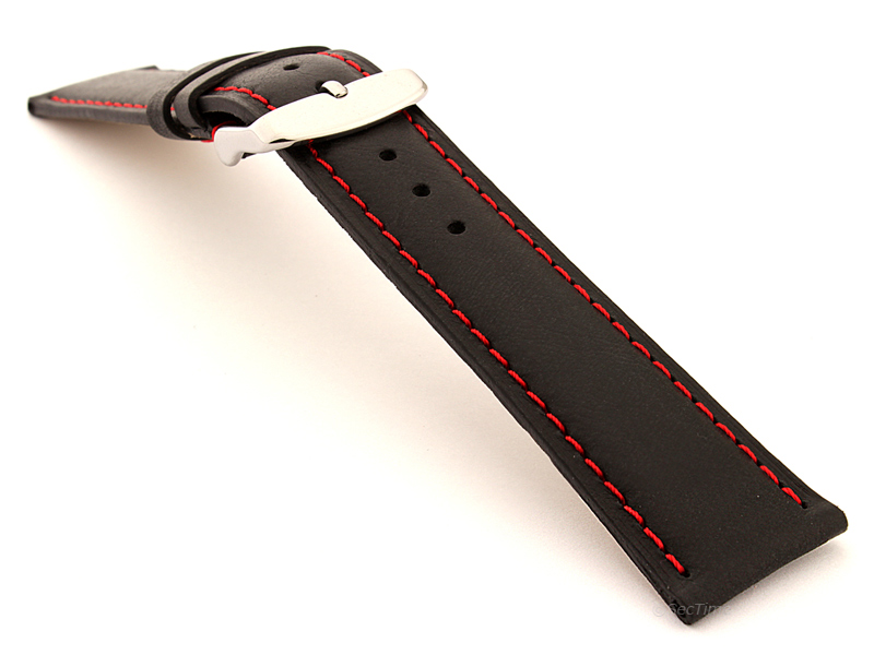 Flat Leather Watch Strap Black with Red Stitching Twister 01 02