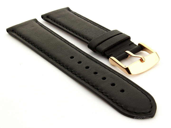 Flat Leather Watch Strap Black with Black Stitching Twister 05 03