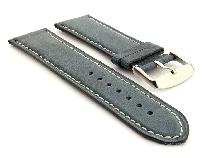 Flat Leather Watch Strap Blue with White Stitching Twister 01 01