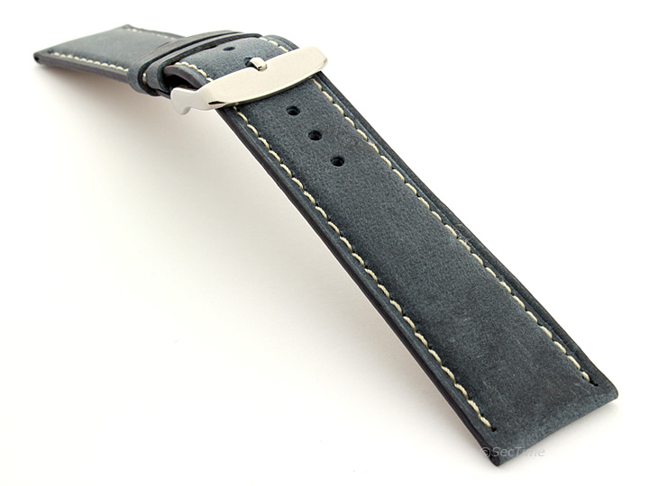 Flat Leather Watch Strap Blue with White Stitching Twister 01 02