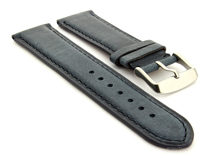 Flat Leather Watch Strap Blue with Blue Stitching Twister 01 01