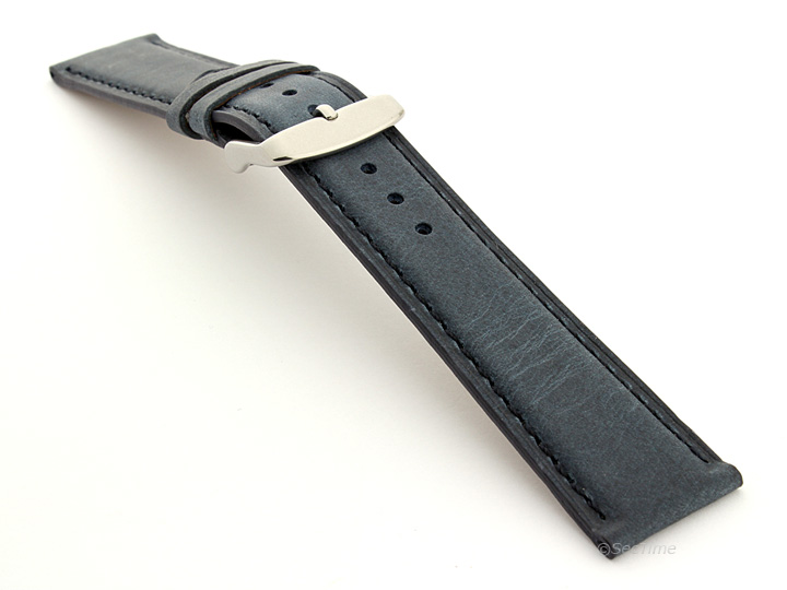 Flat Leather Watch Strap Blue with Blue Stitching Twister 01 02