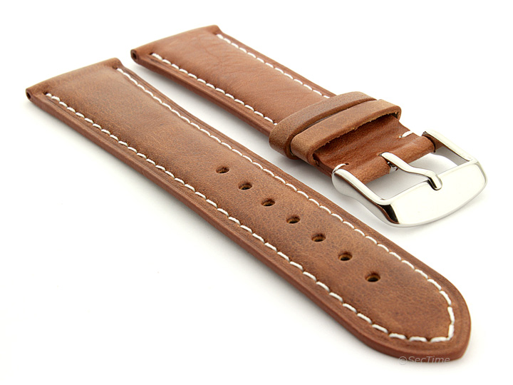 Flat Leather Watch Strap Brown with White Stitching Twister 01 01