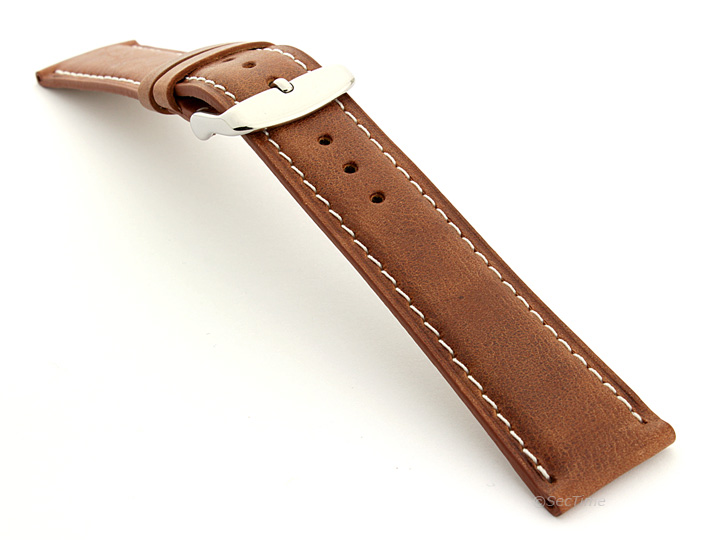 Flat Leather Watch Strap Brown with White Stitching Twister 01 02