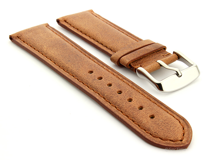 Flat Leather Watch Strap Brown with Brown Stitching Twister 01 01