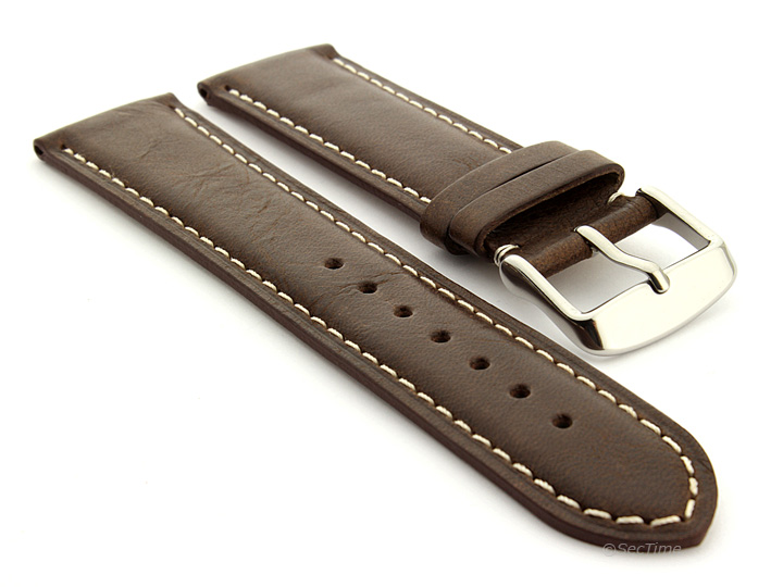 Flat Leather Watch Strap Dark Brown with White Stitching Twister 01 01