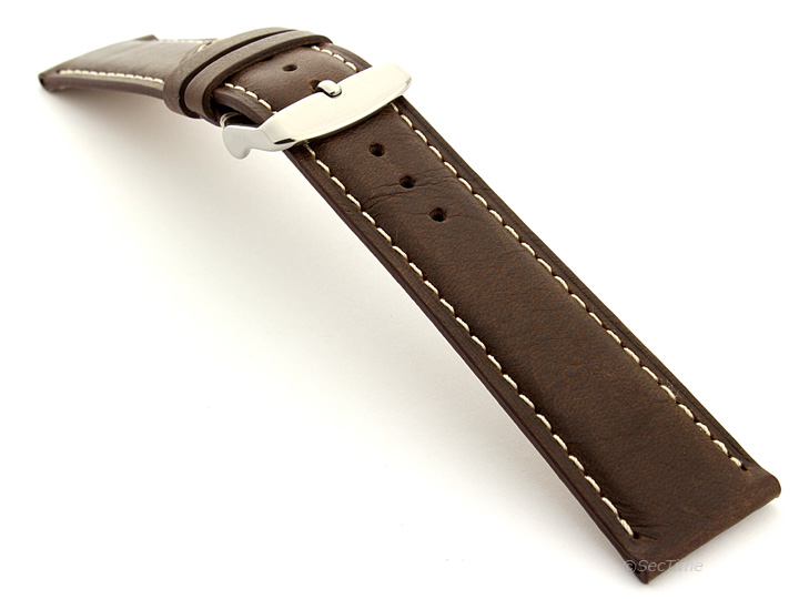 Flat Leather Watch Strap Dark Brown with White Stitching Twister 01 02