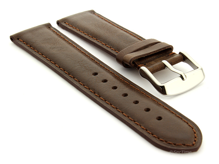 Flat Leather Watch Strap Dark Brown with Brown Stitching Twister 01 01
