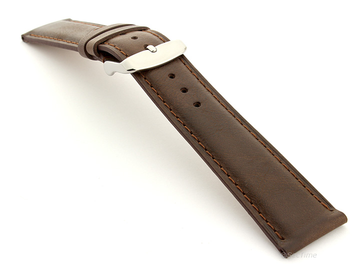 Flat Leather Watch Strap Dark Brown with Brown Stitching Twister 01 02