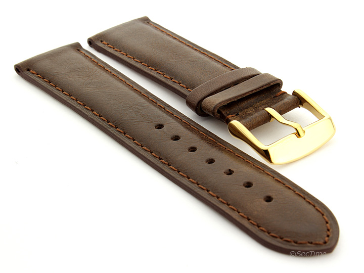 Flat Leather Watch Strap Dark Brown with Brown Stitching Twister 03 03