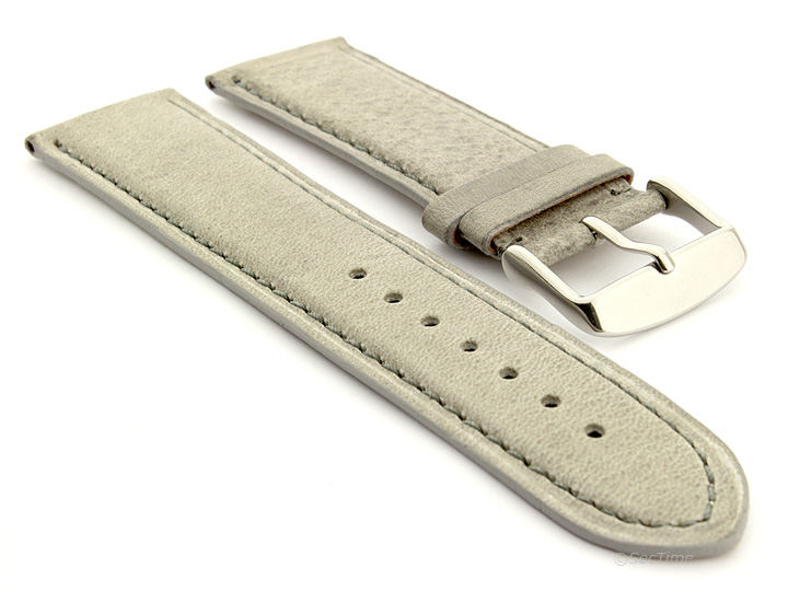 Flat Leather Watch Strap Grey with Grey Stitching Twister 01 01
