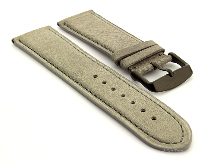 Flat Leather Watch Strap Grey with Grey Stitching Twister 07 03