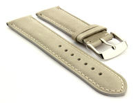Flat Leather Watch Strap Grey with White Stitching Twister 01 01
