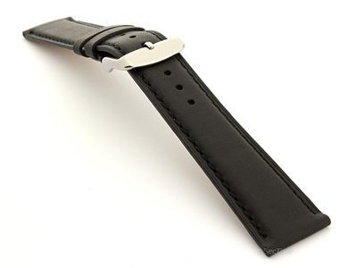 Leather Watch Strap Twister Black / Black 24mm