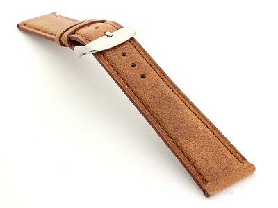 Leather Watch Strap Twister Brown / Brown 24mm