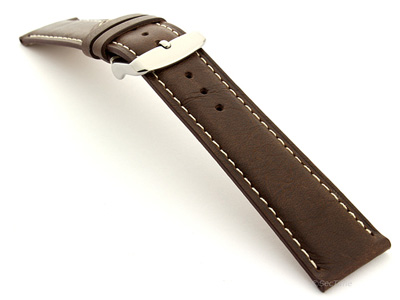 Leather Watch Strap Twister Dark Brown / White 24mm