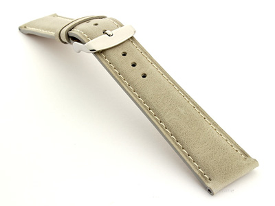 Flat Leather Watch Strap Grey with White Stitching Twister 01 02