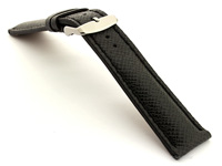 Taiga Leather Watch Strap Cross Pattern Black with Black Stitching VEGA 02