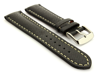 Taiga Leather Watch Strap Cross Pattern Black with White Stitching VEGA 01