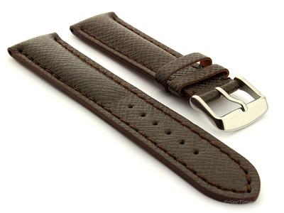Cross Taiga Pattern Leather Watch Strap Vega Dark Brown / Brown 18mm