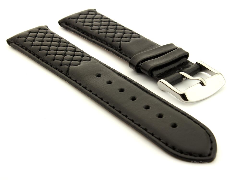 Elegant Cross Stitched Leather Watch Strap Vinci Black 01