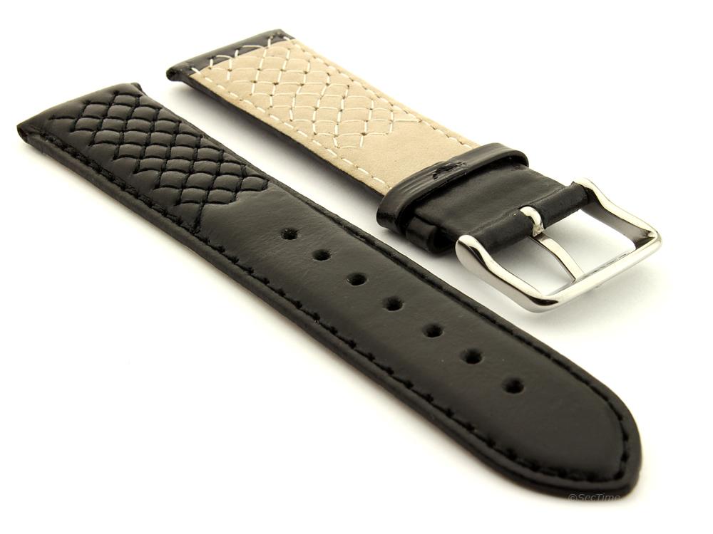 Elegant Cross Stitched Leather Watch Strap Vinci Black 02