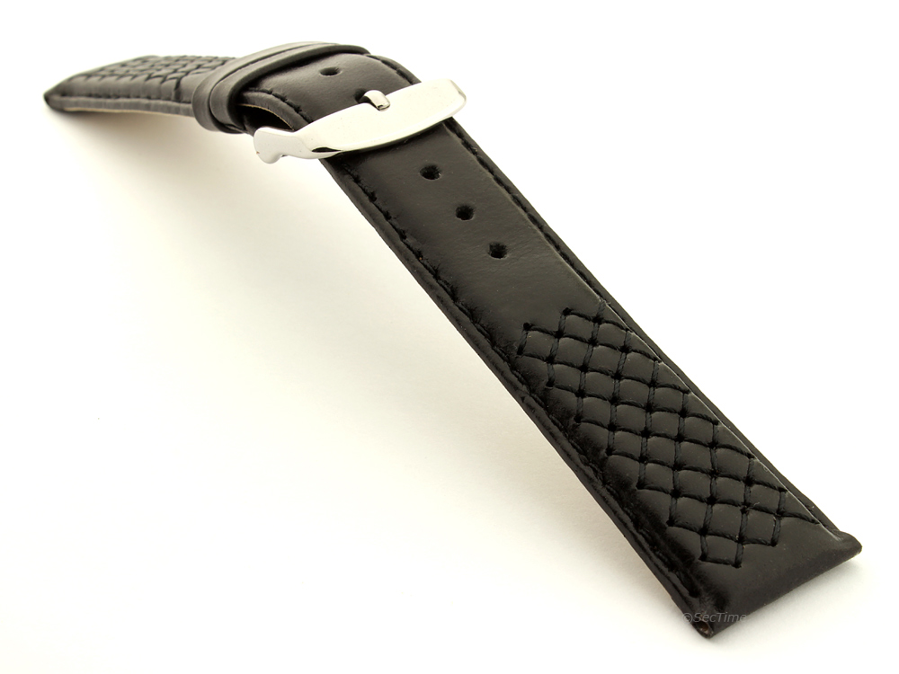 Elegant Cross Stitched Leather Watch Strap Vinci Black 03