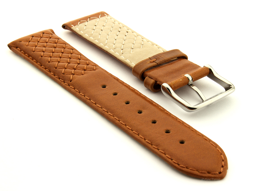 Elegant Cross Stitched Leather Watch Strap Vinci Brown 02