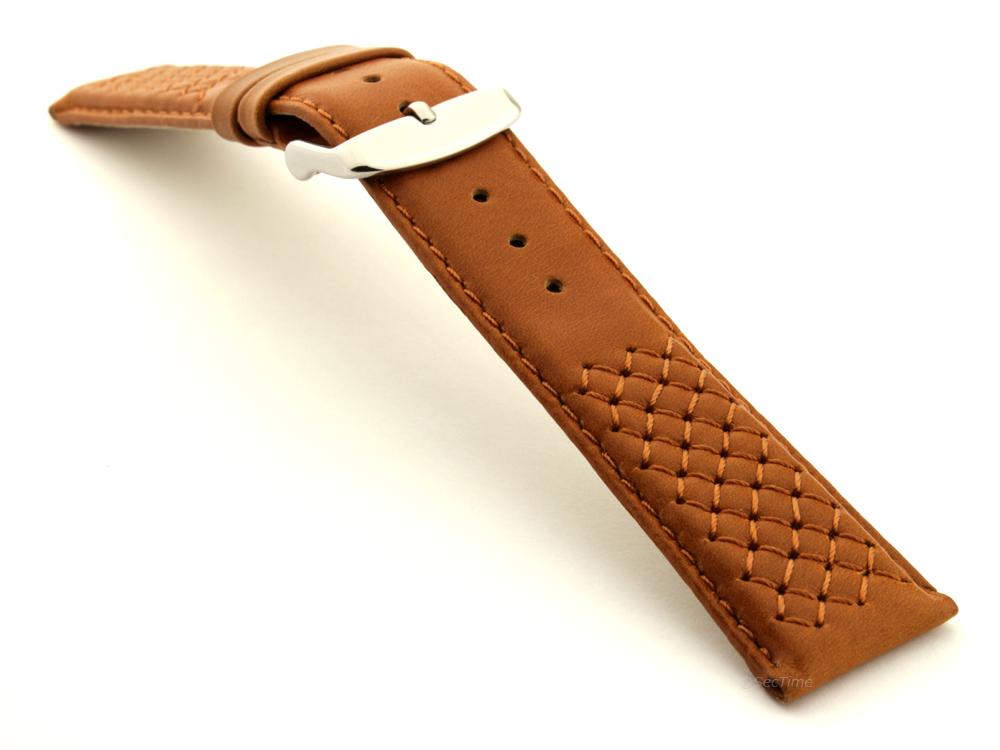 Elegant Cross Stitched Leather Watch Strap Vinci Brown 03