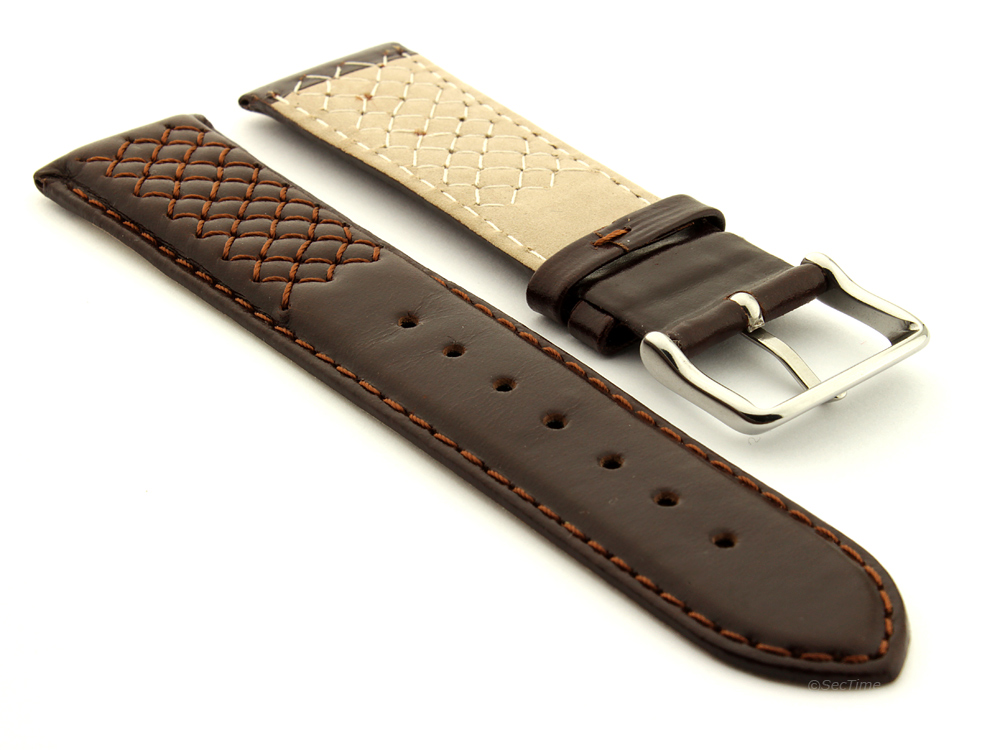 Elegant Cross Stitched Leather Watch Strap Vinci Dark Brown 02