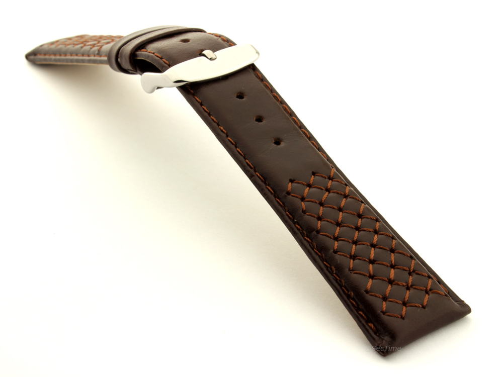 Elegant Cross Stitched Leather Watch Strap Vinci Dark Brown 03