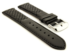 Elegant Cross Stitched Leather Watch Strap Vinci Black 20mm