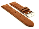 Elegant Cross Stitched Leather Watch Strap Vinci Brown 24mm