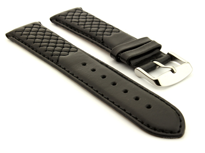 Elegant Cross Stitched Leather Watch Strap Vinci Black 24mm