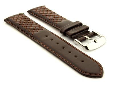 Elegant Cross Stitched Leather Watch Strap Vinci Dark Brown 01