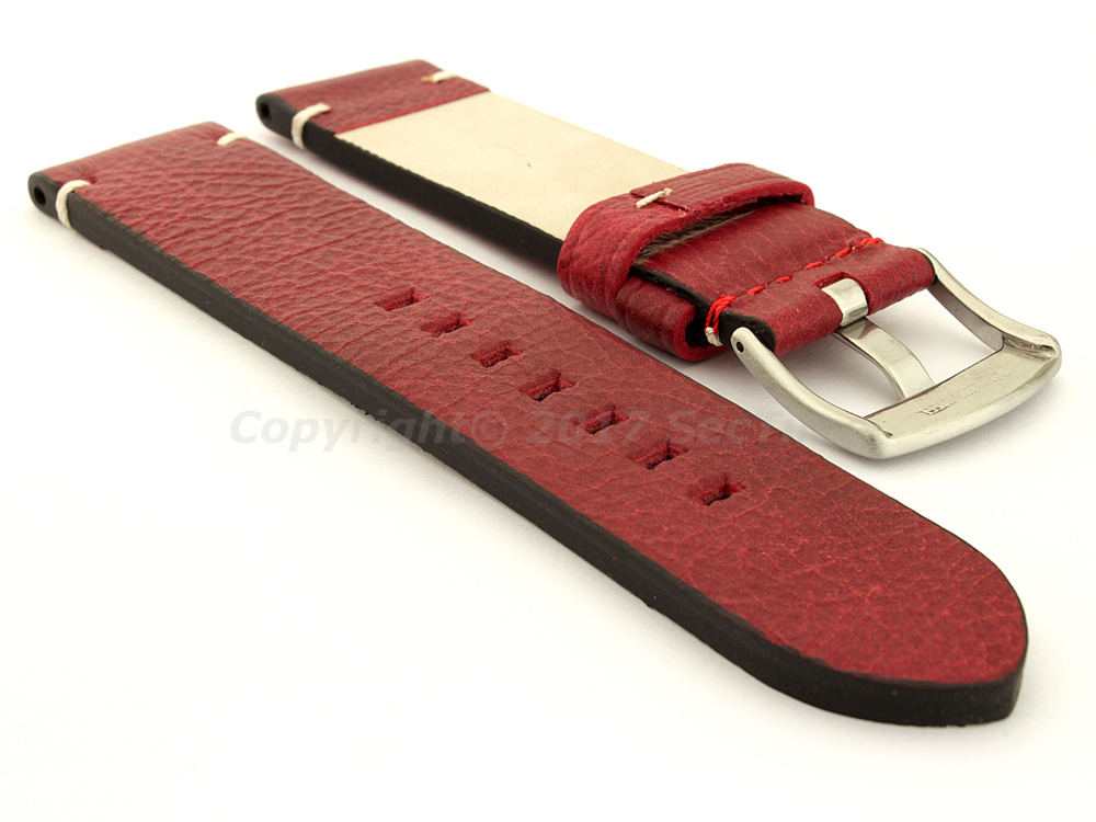 Vintage Paris Genuine Leather Watch Strap Red 02