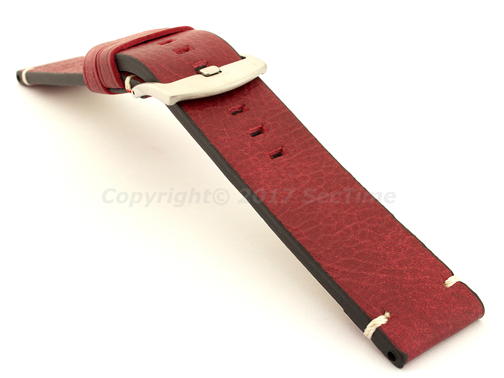 Vintage Paris Genuine Leather Watch Strap Red 03