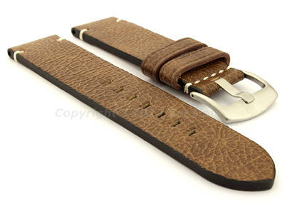 Genuine Leather Watch Strap Vintage Paris Brown 22mm