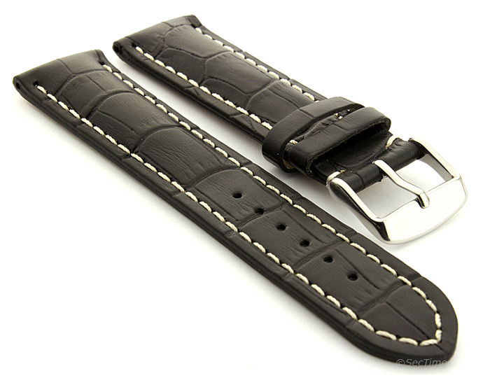 Leather Watch Strap VIP Alligator Grain Black 01