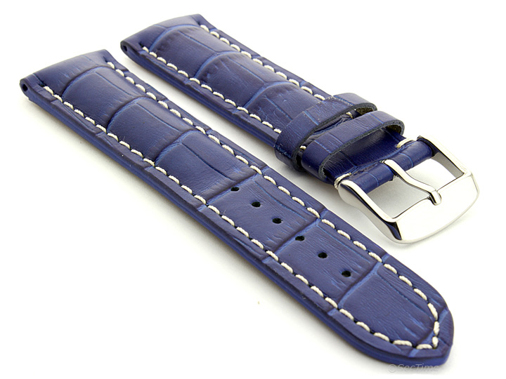 Leather Watch Strap VIP Alligator Grain Blue 01