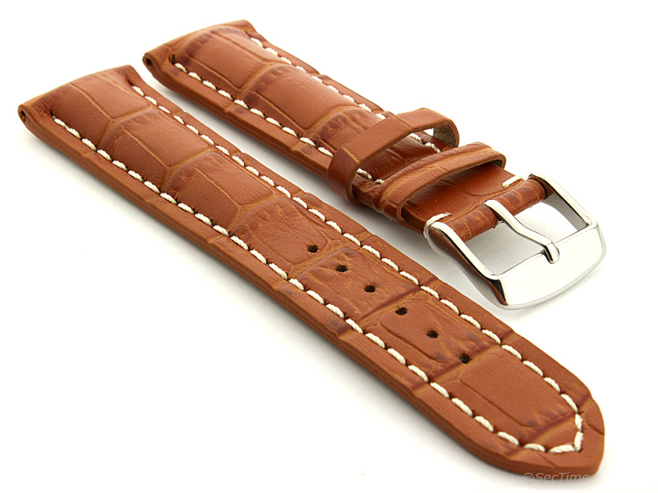 Genuine leather watch band strap vip stainless steel buckle alligator grain mm ebay for Violet leather strap watch