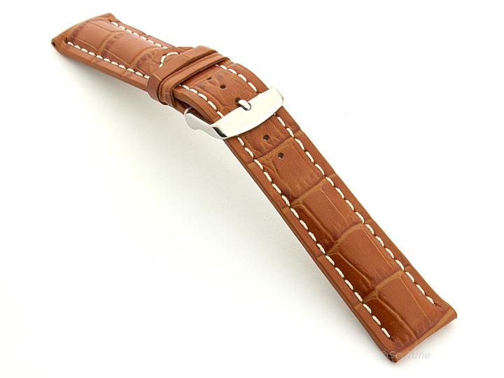 Leather Watch Strap VIP Alligator Grain Brown 02