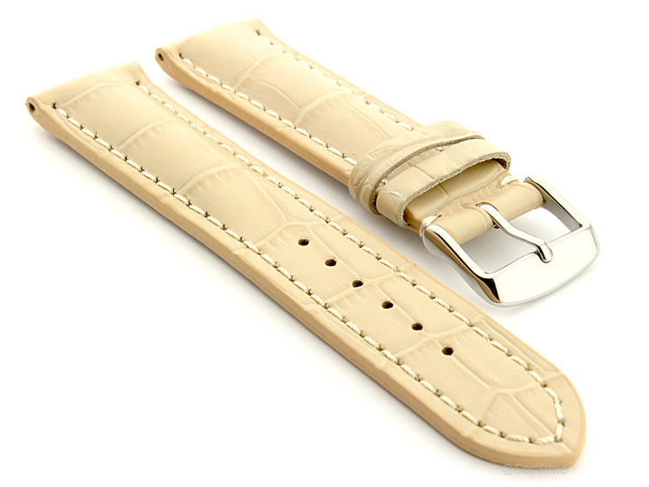 Leather Watch Strap VIP Alligator Grain Cream 01