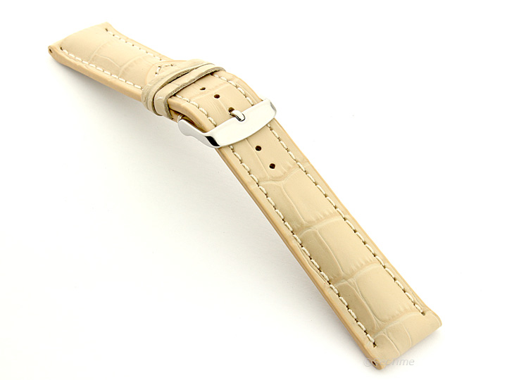 Leather Watch Strap VIP Alligator Grain Cream 02