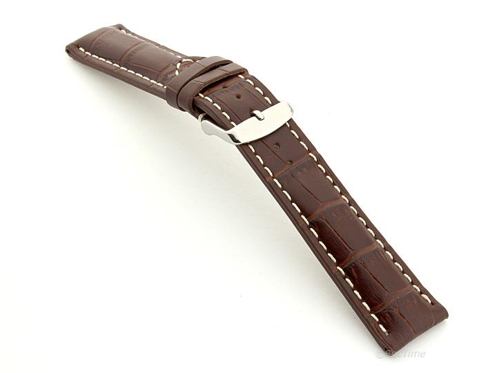 Leather Watch Strap VIP Alligator Grain Dark Brown 02